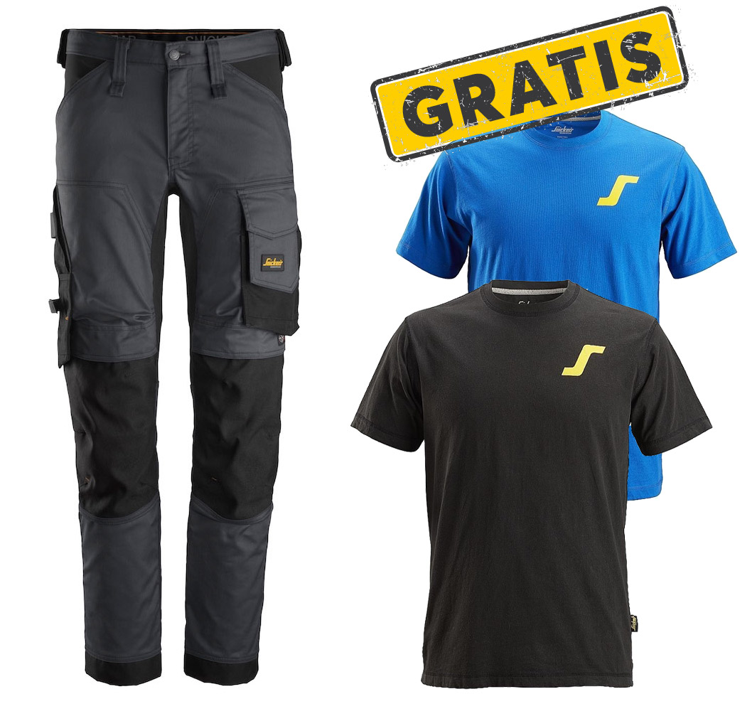Snickers 6341 AllroundWork Stretch Arbeitshose + GRATIS T-Shirts Doppelpack