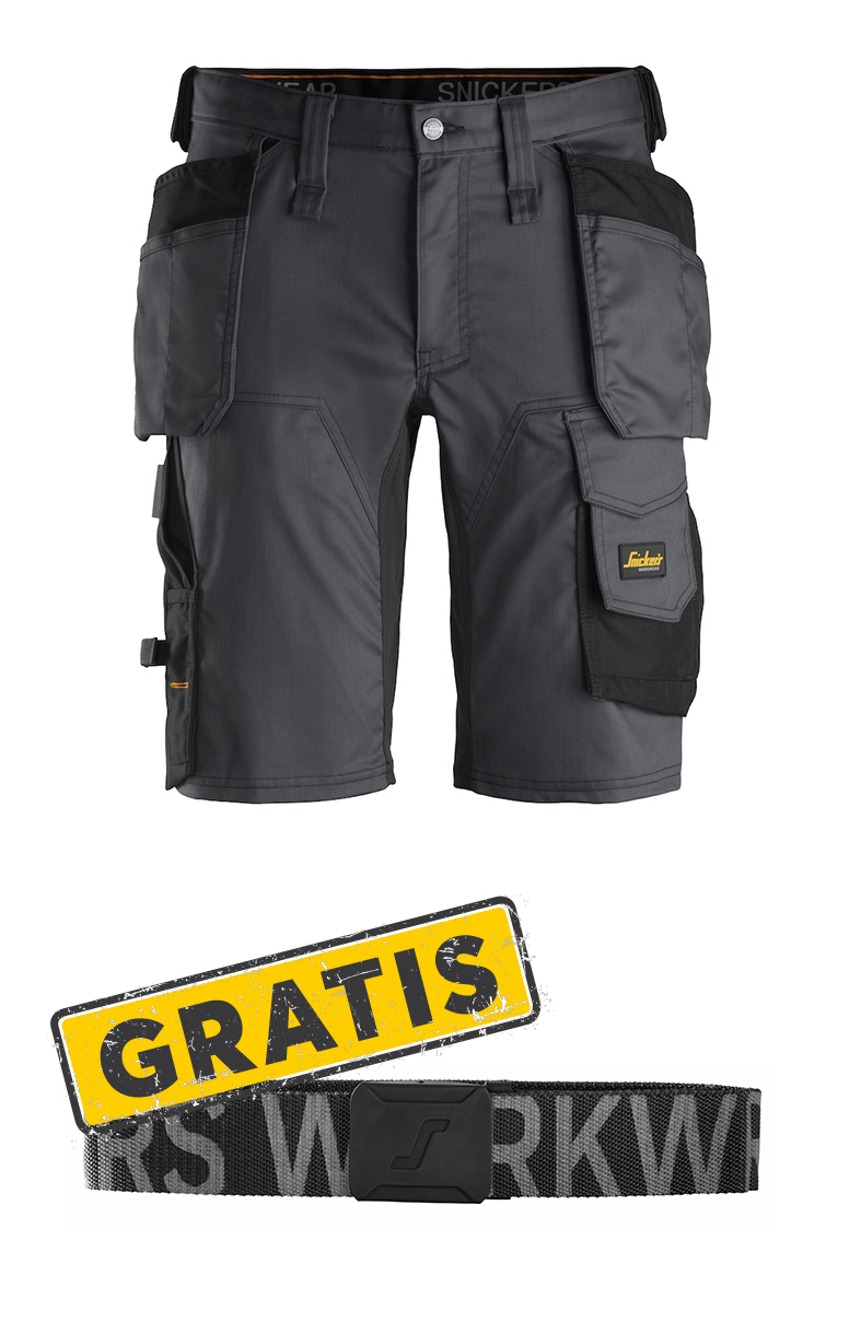 Snickers 6141 AllroundWork, Stretch Shorts mit Holstertaschen + GRATIS Gürtel